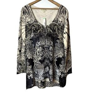LIVE AND LET LIVE Velvet Mix Tunic Top Size 2X NWT